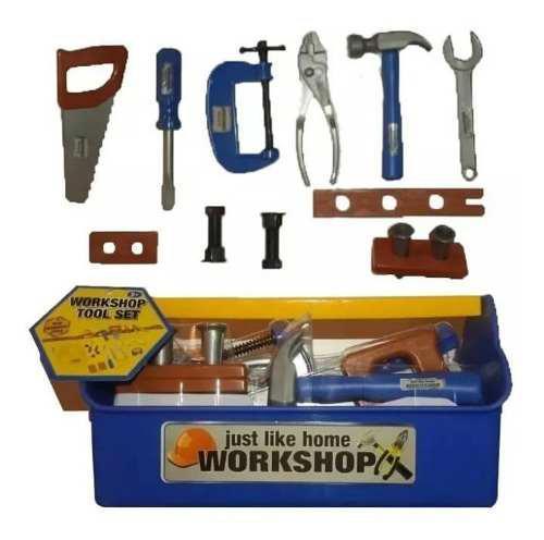 Caja de herramienta niños set 15 piezas accesorios juguete