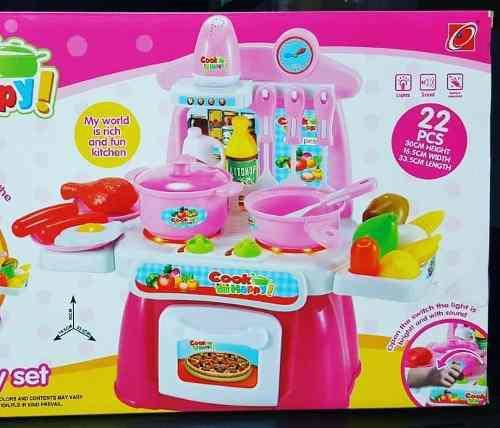 Mini cocina de mesa para niñas sonidos luces y accesorios