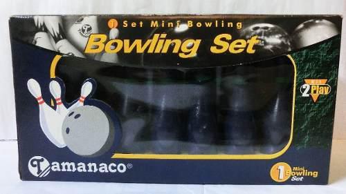 Set mini bowling tamanaco 2 bolas 10 pines de madera nuevo