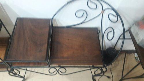 Mueble de hierro forjado y madera caoba tipo telefonera perf
