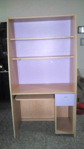 Mueble estante de madera y formica para computadora