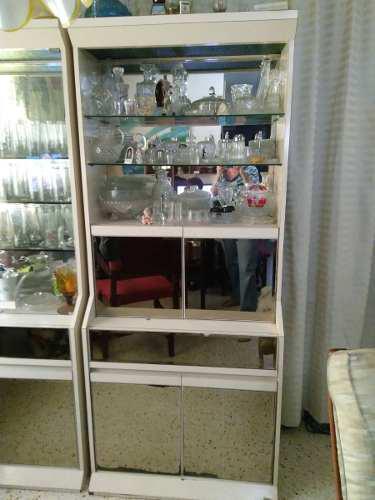 Mueble modular vertical.blanco. estante 2 con vidrio espejo