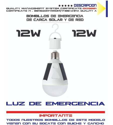 Bombillo luz led recargable con panel solar super brillo 12w