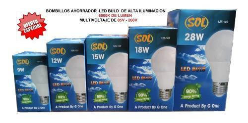 Bombillos ahorradores led buld 9w 12w 15w 18w 28w luz blanca