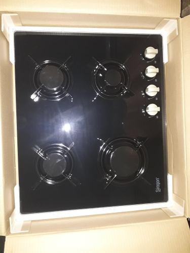 Tope de cocina 4 hornillas a gas. vidrio templado 60cm