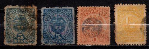 Estampillas Colombia 1883-1895-1904 Usadas