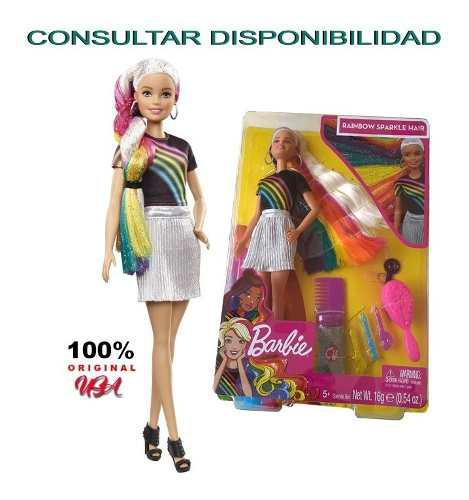 Muñecas barbie rainbow sparkle hair. 100% (usa)