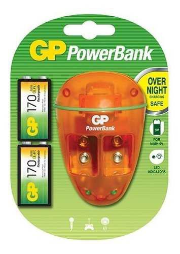 Cargador gp mas 2 baterias 9 v de 170 mah garantizado