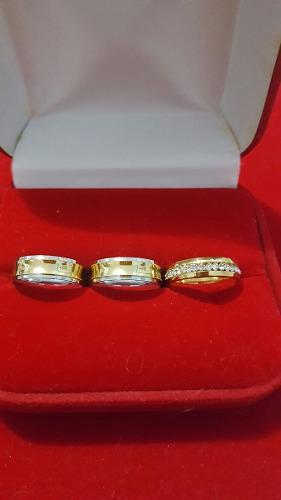 Aros de bodas en acero inoxidable mas anillo de compromiso