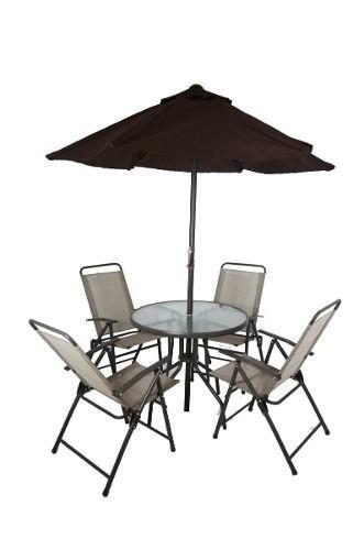 Juego jardin sombrilla mesa silla base piscina terraza