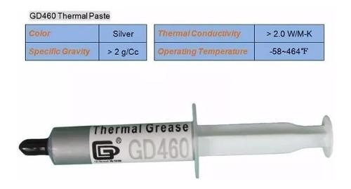 Pasta térmica gris gd460 silver 7 gramos cpu gpu chips