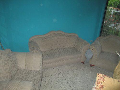 Juego de muebles de 4 puestos tela y madera