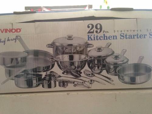 Vendo juego de ollas de acero inoxidable 29 piezas nuevo