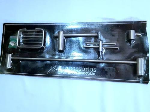 Kit de accesorios para baños, acero inox, 5 pzas