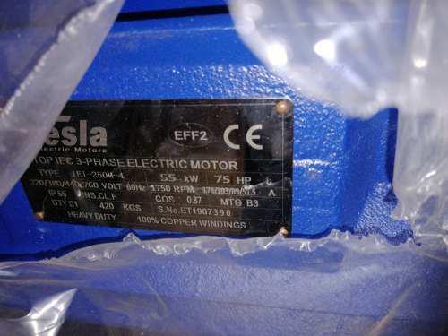 Motor eléctrico trifásico 75 hp 1750 rpm tesla electric