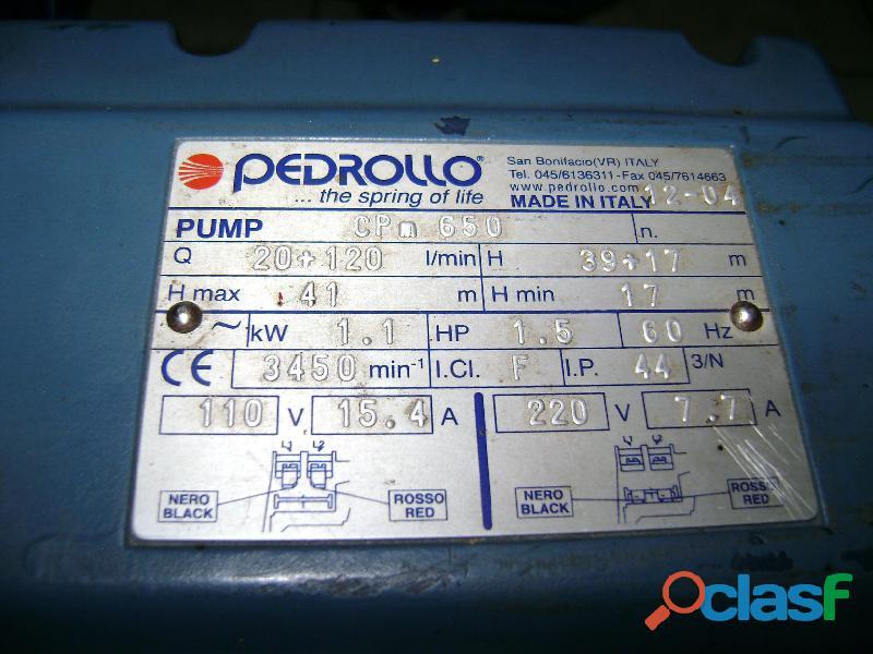 Bomba de agua italiana marca: pedrollo de 1,5 hp