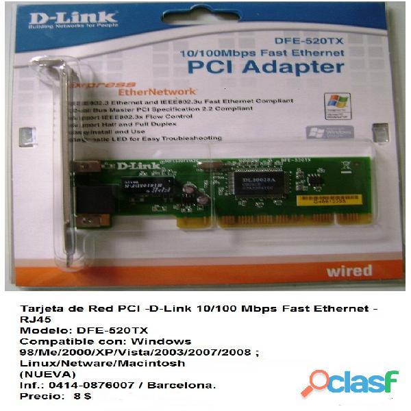 Tarjeta de red pci  d link 10/100 mbps fast ethernet   rj45