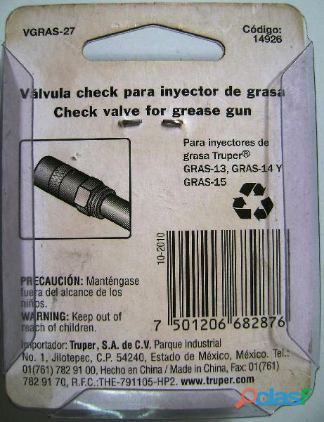 Válvula check para inyectores de grasa Truper 14926 1