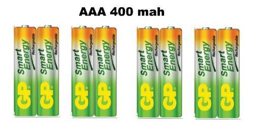 Baterías pilas recargables gp aaa de 400 mah x 4 pares