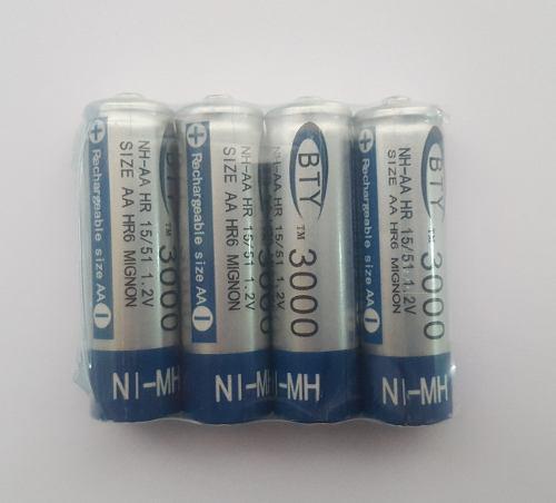 Bateria Pila Recargable A A, Doble A, Pack De 4 Unidades