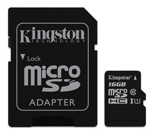 Tarjeta de memoria 16gb clase 10 micro sdhc y adaptador k0