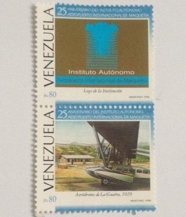 2 estampillas vzla 25 aniversario aeropuerto de maiquetia