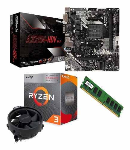 Computador amd ryzen 3 3200g, mem 4gb ddr4, hdd 1tb case atx