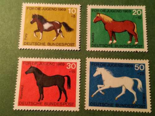 Estampillas alemania, serie pro-juventud, caballos, 1969.