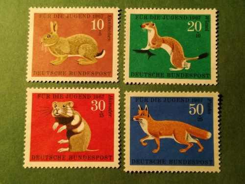 Estampillas alemania, serie pro-juventud, fauna, 1967.