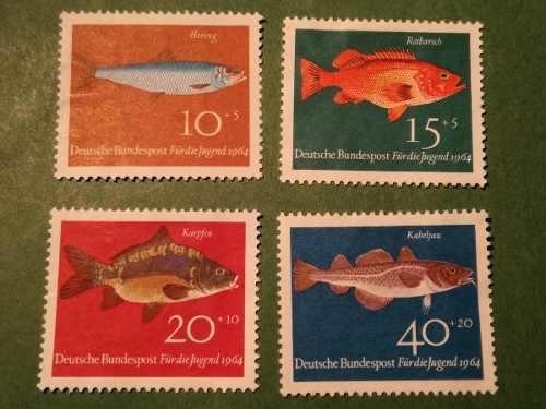 Estampillas alemania, serie pro-juventud, peces, 1964.