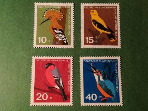 Estampillas alemania, serie pro-juventud, pájaros, 1963.