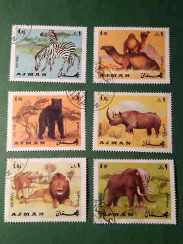 Estampillas de ajman state, serie animales, 1969.