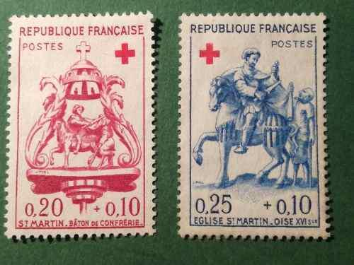 Estampillas francia. serie: cruz roja. año: 1960.