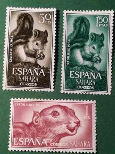 Estampillas sahara español. s/: día del sello, ardillas