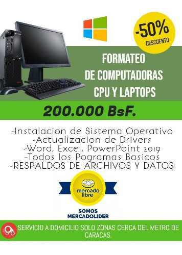 Formateo De Pc Y Laptops, Instalación A Domicilio Caracas
