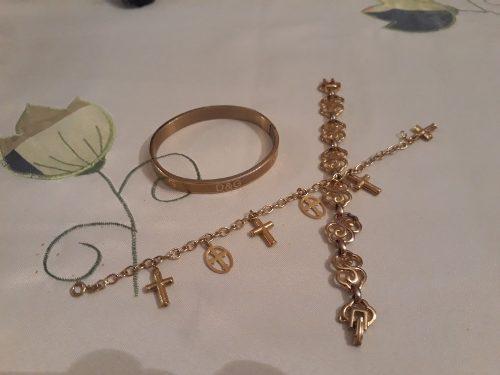 Bisutería juego de collar zarcillo pulsera pompon anillo