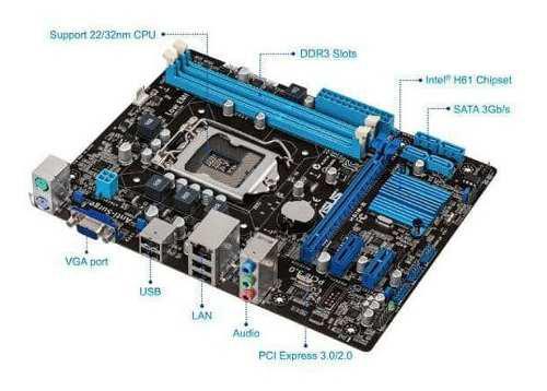 Combo De Tarjeta Madre Asus H61m-e 1155 Intel I7 3770