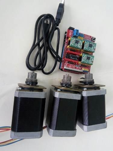 Kit cnc arduino 3 motores nema 17 7.4kg torque