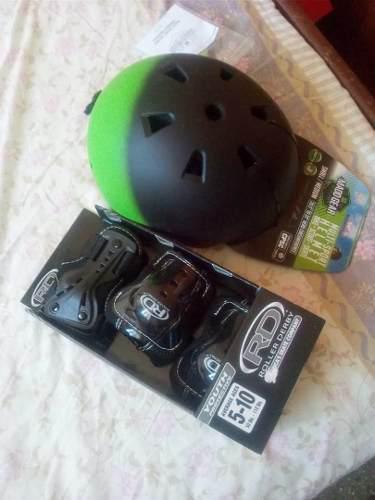 Juego de casco, muñequeras,coderas y rodilleras nuevo