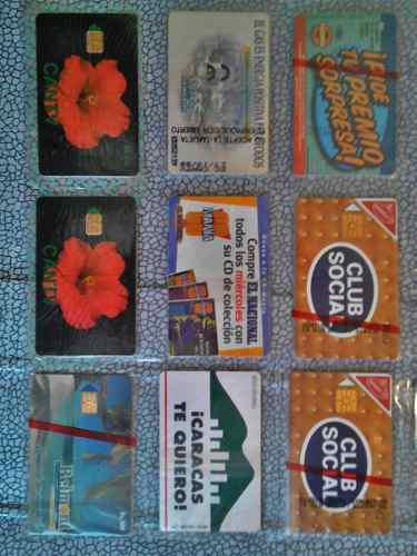 Set de 9 tarjetas telefónicas de colección en su empaque