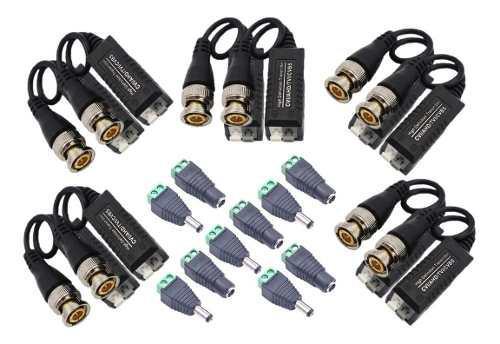 Kit 5 video balun + 5 conector plug dc 12v macho y hembra