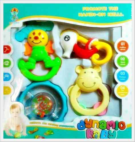 Set 4 sonajero juguete bebe rascaencias maraca mordedor nuev