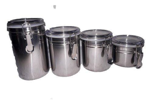 Juego de potes de cocina acero 4 piezas con tapa nuevos