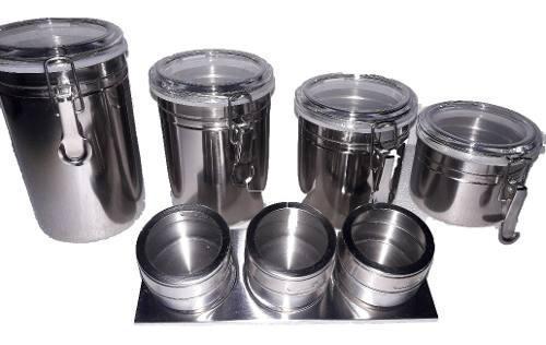 Juego de potes de cocina y condimenteros de acero 7 piezas