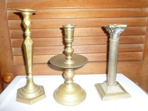 Antiguos juego de tres candelabro en bronce