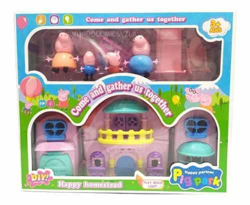 Set de casa grande figuras familia peppa pig + accesorios