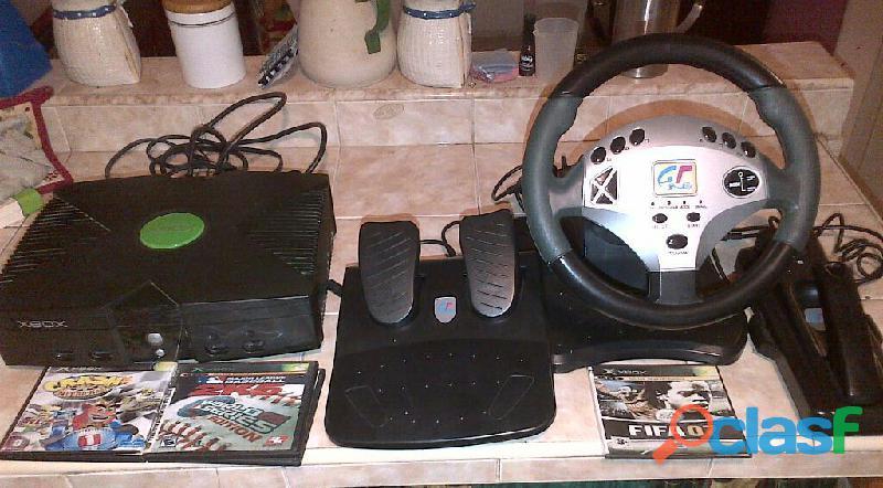xbox Clasico + Volante control simulador +5 Juegos Originales