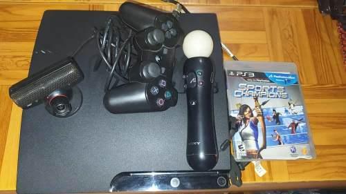 Playstation 3 slim 320 gb pack move + cámara +6 juegos