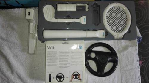 Kit wii accesorios y volante para control wii usados