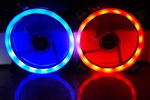 Fan cooler led azul. rojo 12x12 ventilador pc doble anillo
